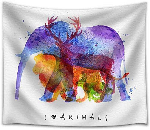 wall26 – Color Animals,Elephant, Deer, Lion, Rabbit, Drawing Overprint on Watercolor Paper Background Lettering I Love Animals – Fabric Wall Tapestry Home Decor – 68×80 inches