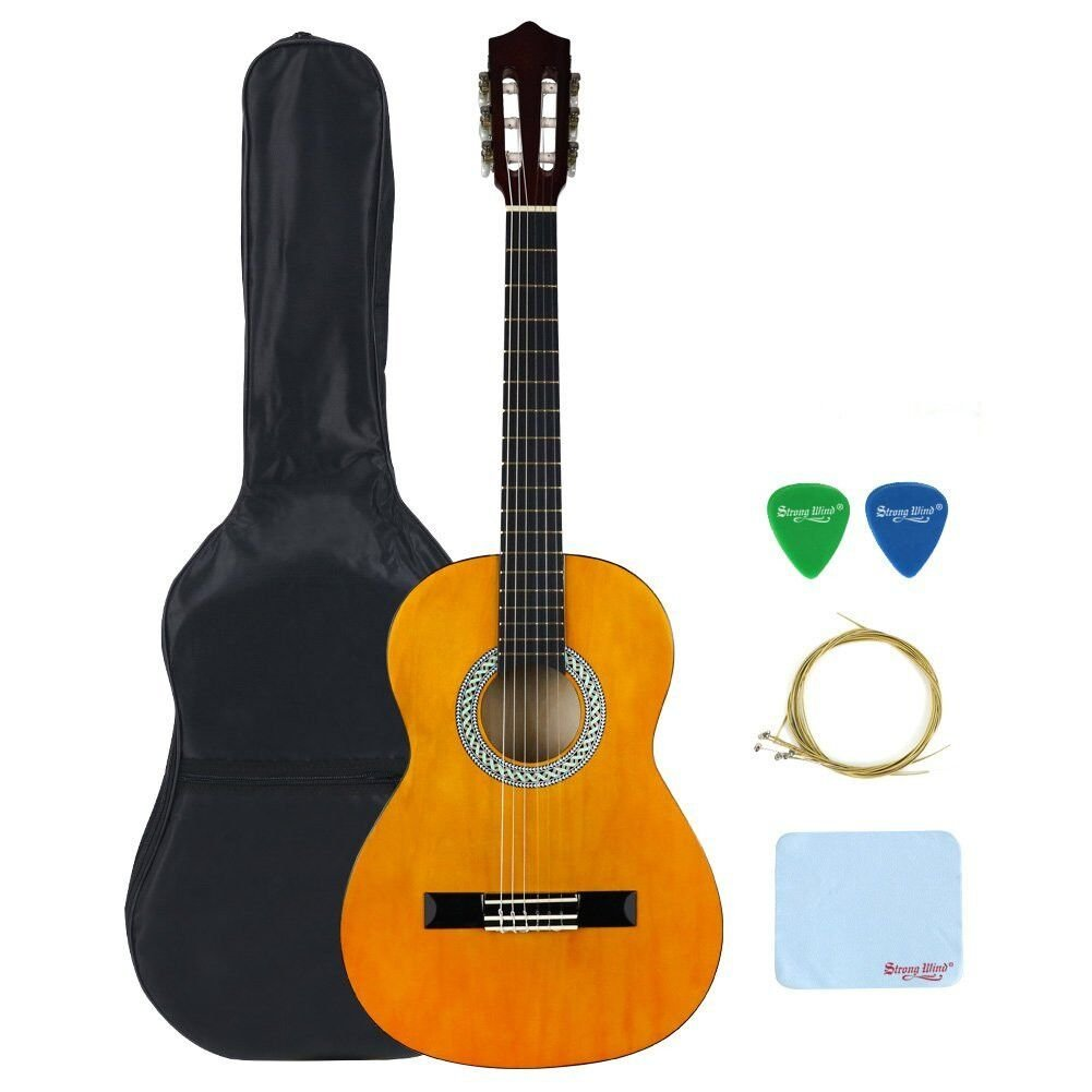 "3/4 Size Classical Acoustic Guitar, Strong Wind 36"" Inch 6 Nylon Strings Guitar Beginner Kit Guitar Starter Pack with Tuner, Picks, Carrying bag, Strings and Cleaning Cloth for Students Children"