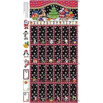 NU060 Weihnachtsstoff, Design Adventskalender, Weihnachtsmann, 60 x 110 cm, fertiger Kalender ca. 60 x 55 cm NU060 Advent Calendar Panel Nutex 89280 101