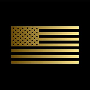 American US Flag [Pick Color/Size] Vinyl Decal Sticker for Laptop/Car/Truck/Jeep/Window/Bumper (18in x 10in, Metallic Gold)