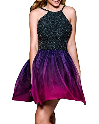The Peachess Womens Ombre Halter Crystals Prom Gown Short Gradient Backless Homecoing Cocktail Dresses TP78 at Amazon Womens Clothing store: