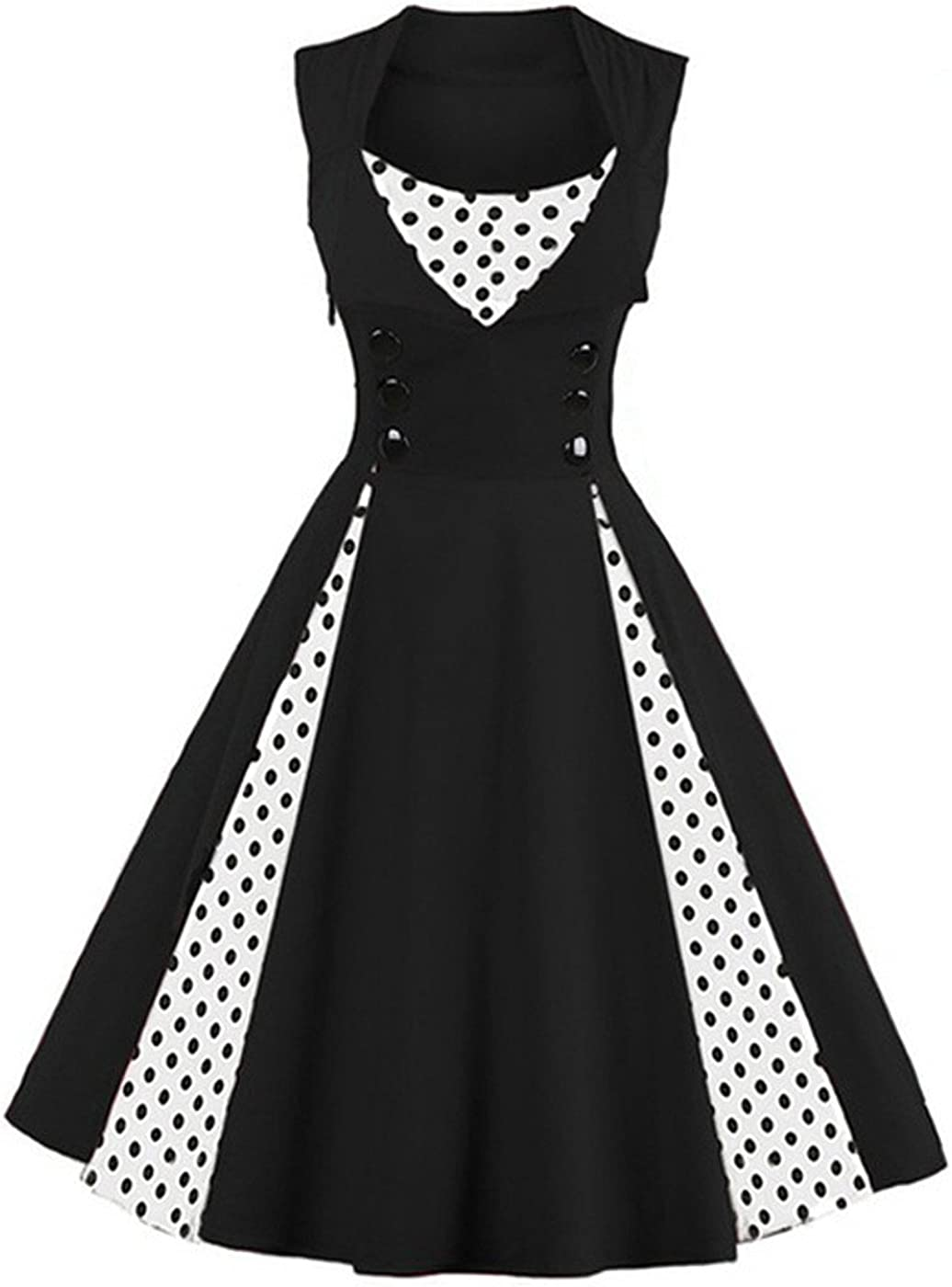 TALLA 3XL. VERNASSA 50s Vestidos Vintage,Mujeres 1950s Vintage A-Line Rockabilly Clásico Verano Dress for Evening Party Cocktail, Multicolor, S-Plus Size 4XL 1357-puntos Negros 3XL