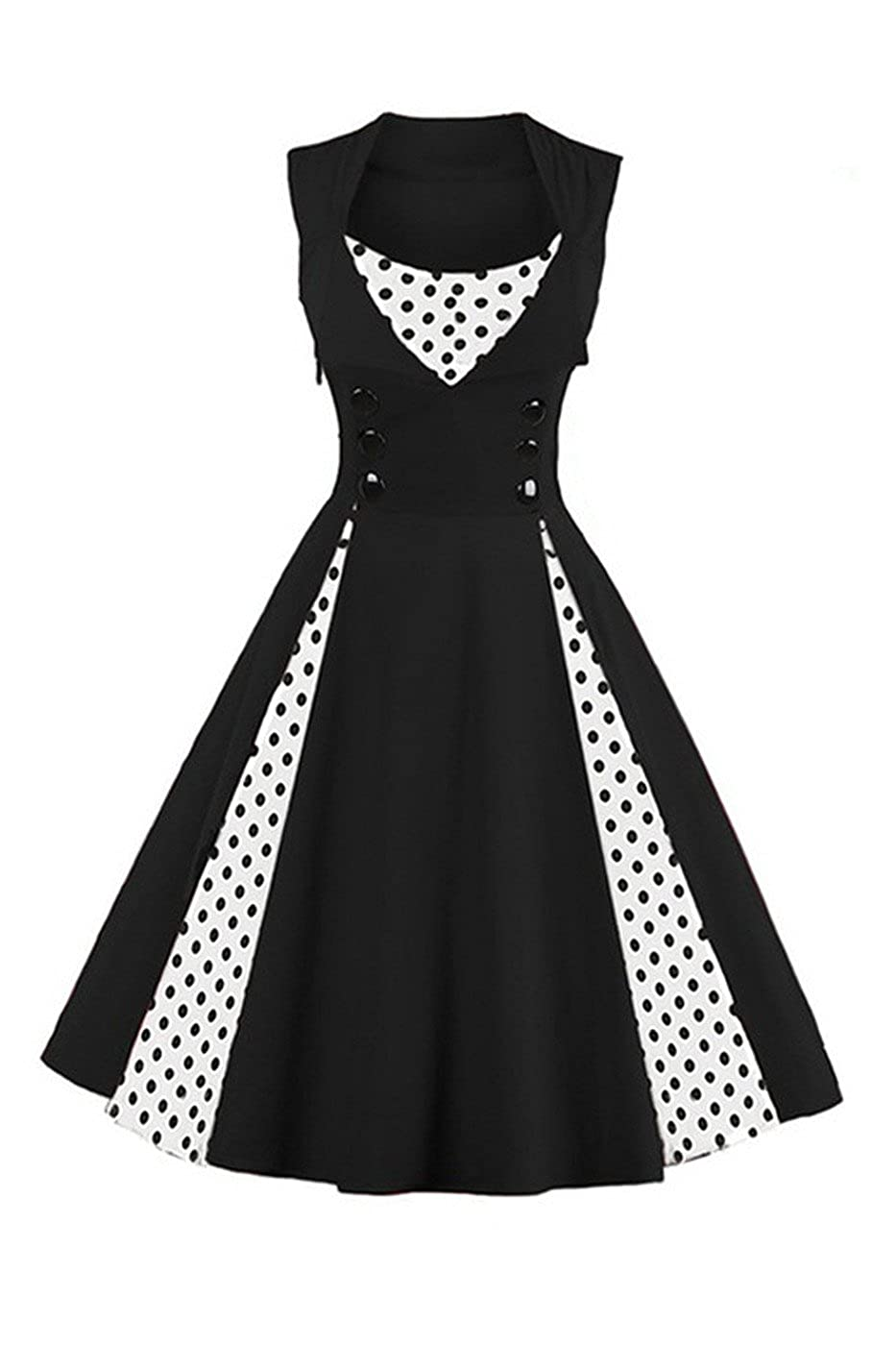 TALLA L. VERNASSA 50s Vestidos Vintage,Mujeres 1950s Vintage A-Line Rockabilly Clásico Verano Dress for Evening Party Cocktail, S-Plus Size 4XL 1357-puntos Negros
