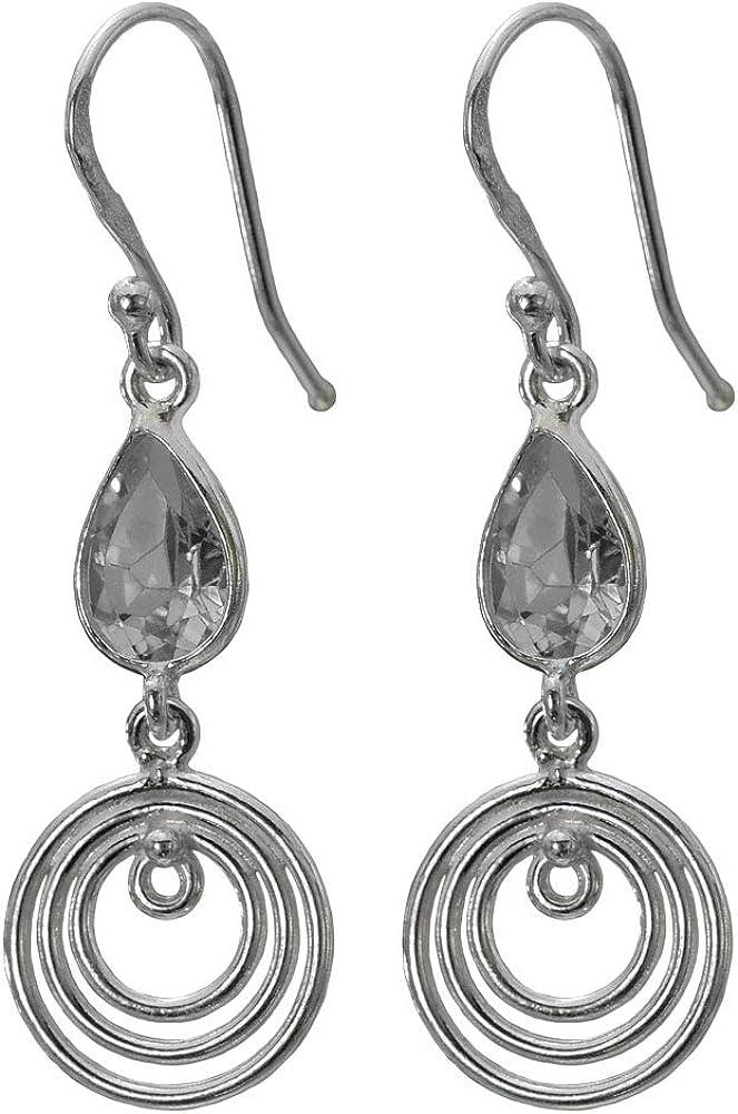 I-be 390724/3K - Pendientes de cristal de roca facetado con piedras preciosas (plata 925, longitud total 4,3 cm, en estuche de regalo)