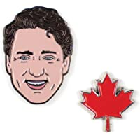 Justin Trudeau and Maple Leaf Enamel Pin Set - 2 Unique Colored Metal Lapel Pins