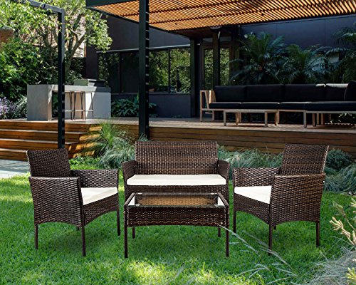 Garden Rattan Furniture Set Seat Wicker