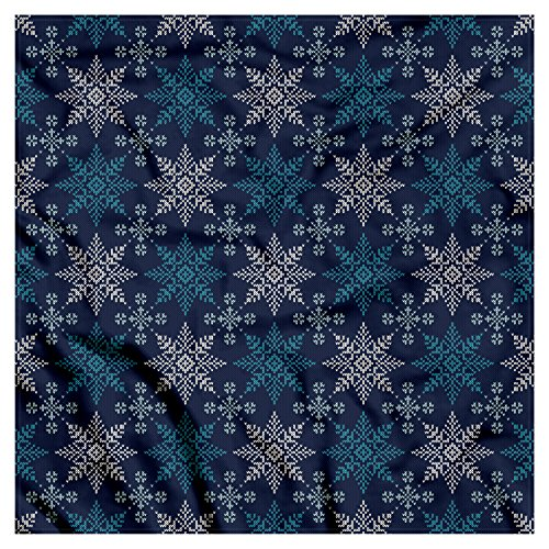 Ambesonne Unisex Bandana, Snowflake Winter Holiday Theme, Green Blue ()