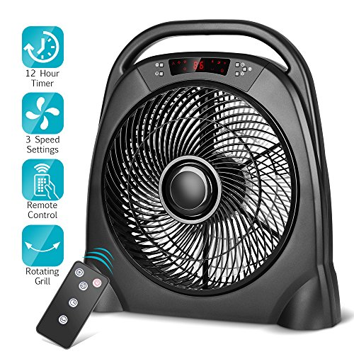 trustech remote table fan - 12 inch portable floor fan with 3 speeds & automatic shutoff timer, powerful or breeze modes, remote box desk fan cools you down in hot summer