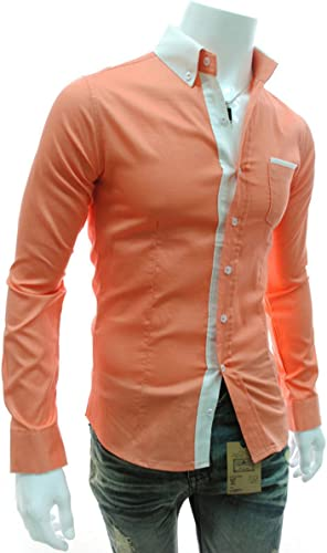 Las empresas Imixlot para hombre camisa para hombre modelo fino para el tiempo libre Naranja camiseta de manga larga-XXL(=us Size