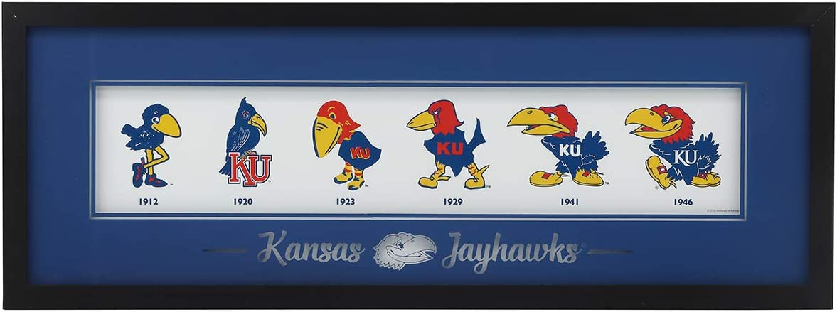 Open Road Brands University of Kansas KU Jayhawk Logo Evolution MDF Black Wood Frame with Glass Cover - an Officially Licensed Product Great Addition to Add What You Love to Your Home/Garage Decor