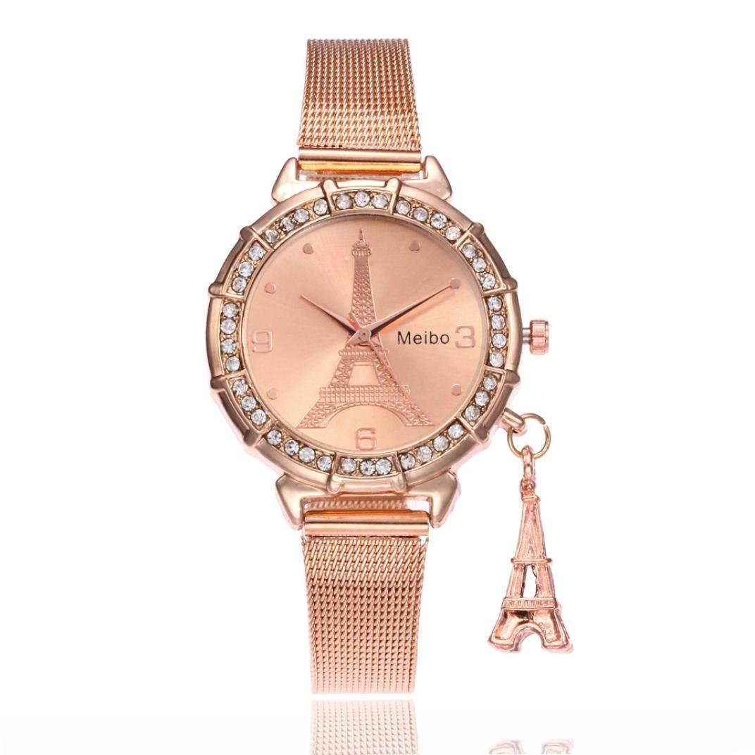 Amazon.com: Dressin Womens Geneva Watch, Women Classic Eiffel Tower Stainless Steel Analog Quartz Wrist Watch Mesh Bracelet Watch (Gold-1): Clothing