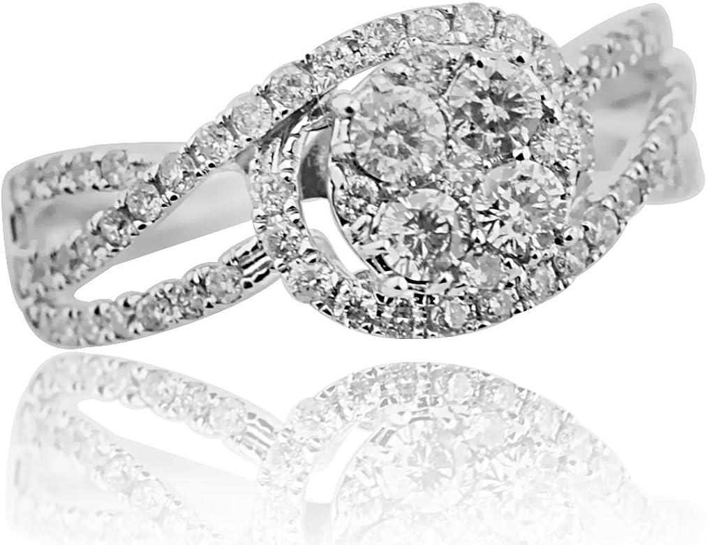 14 K oro blanco anillos de boda de 0.85 ctw Diamond Halo ...