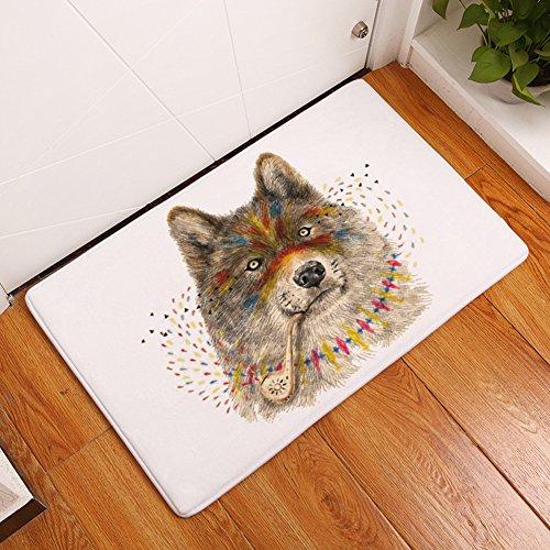YJ Bear Thin Gray Wolf Print Tobacco Pipe Pattern Home Decor Carpet Indoor Kitchen Floor Runner Non Slip Floor Mat Rectangle Doormat Entry Mat 20