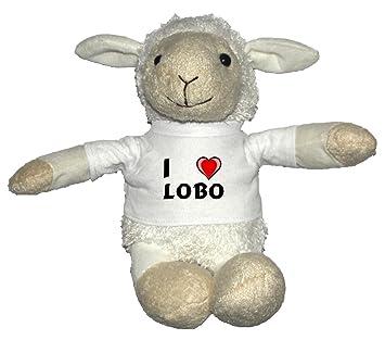 Oveja blanco de peluche con Amo Lobo en la camiseta (nombre de pila/apellido