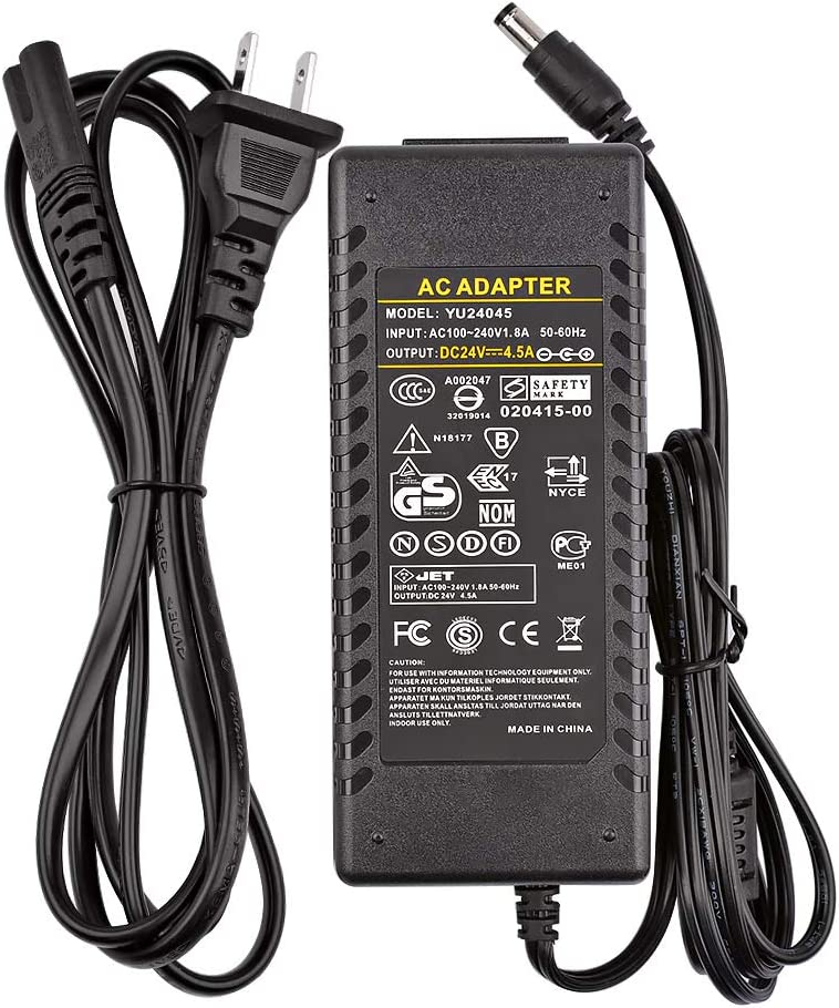 24V 4.5A 108W Universal AC Power Adapter Laptop Charger 5.5x2.5mm,Audio Amplifier Power Supply for TPA3116 TDA7498 TDA7492 TAS5613 Class D Amplifier(24V)