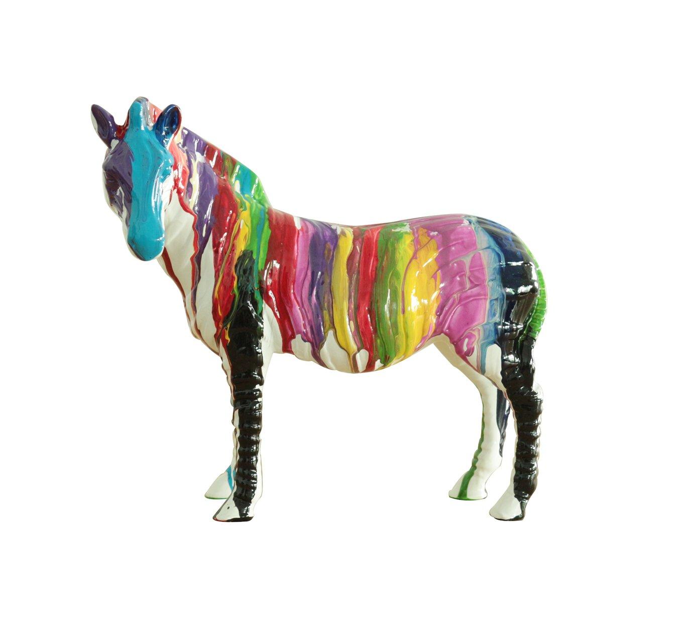 Zebra Statue Color Splash Paint Motif Lacquer, Object Decoration Modern Design Meubletmoi