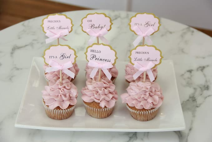 48 PC PINK /& GOLD Girl Baby Shower Cupcake Toppers Cake Picks For Girls Birthday