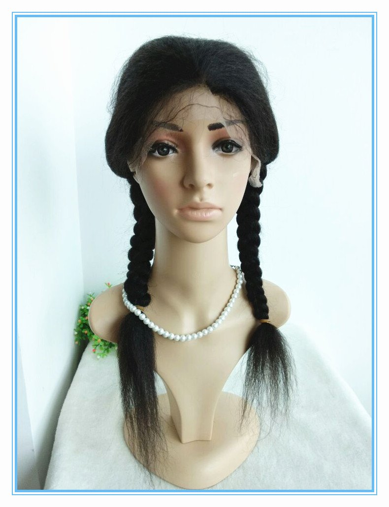 Indian Remy Human Hair Italian Yaki Cute Braids Glueless Full Lace Silk Top Wig--bw0080-20''