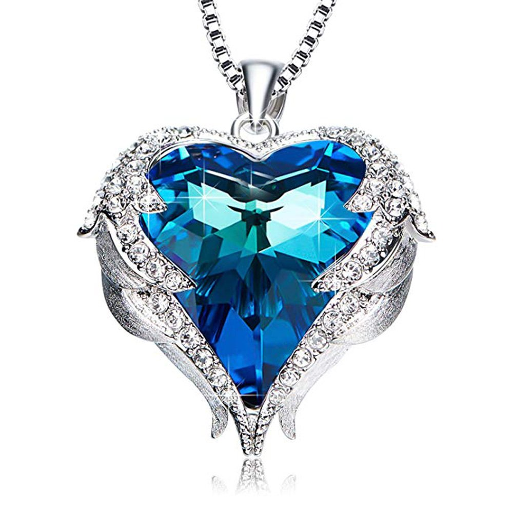 Fashion Drop Pendant Crystal Necklace For Women''Heart Of The Ocean'' Angel Wing Love Heart Necklace Jewelry Gifts For Women Girls …