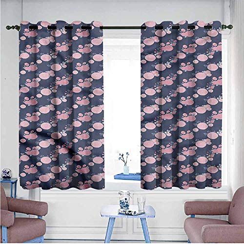Mdxizc Thermal Curtains Garden Art Pink Asters Romantic Girl Room Blackout Curtain W55 xL63 Suitable for Bedroom,Living,Room,Study, etc. ()