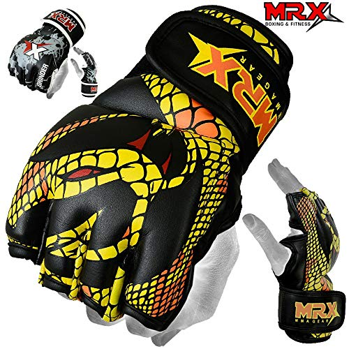 Cage Fighter Mma - MRX MMA Grappling Gloves Cage Boxing Fight, Snake Design Black/Yellow (XLarge)
