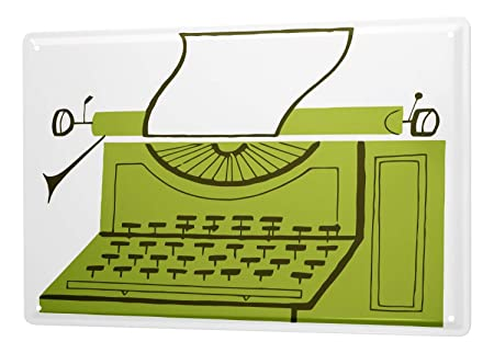 Cartel Letrero de Chapa Art Deco Máquina de escribir: Amazon ...