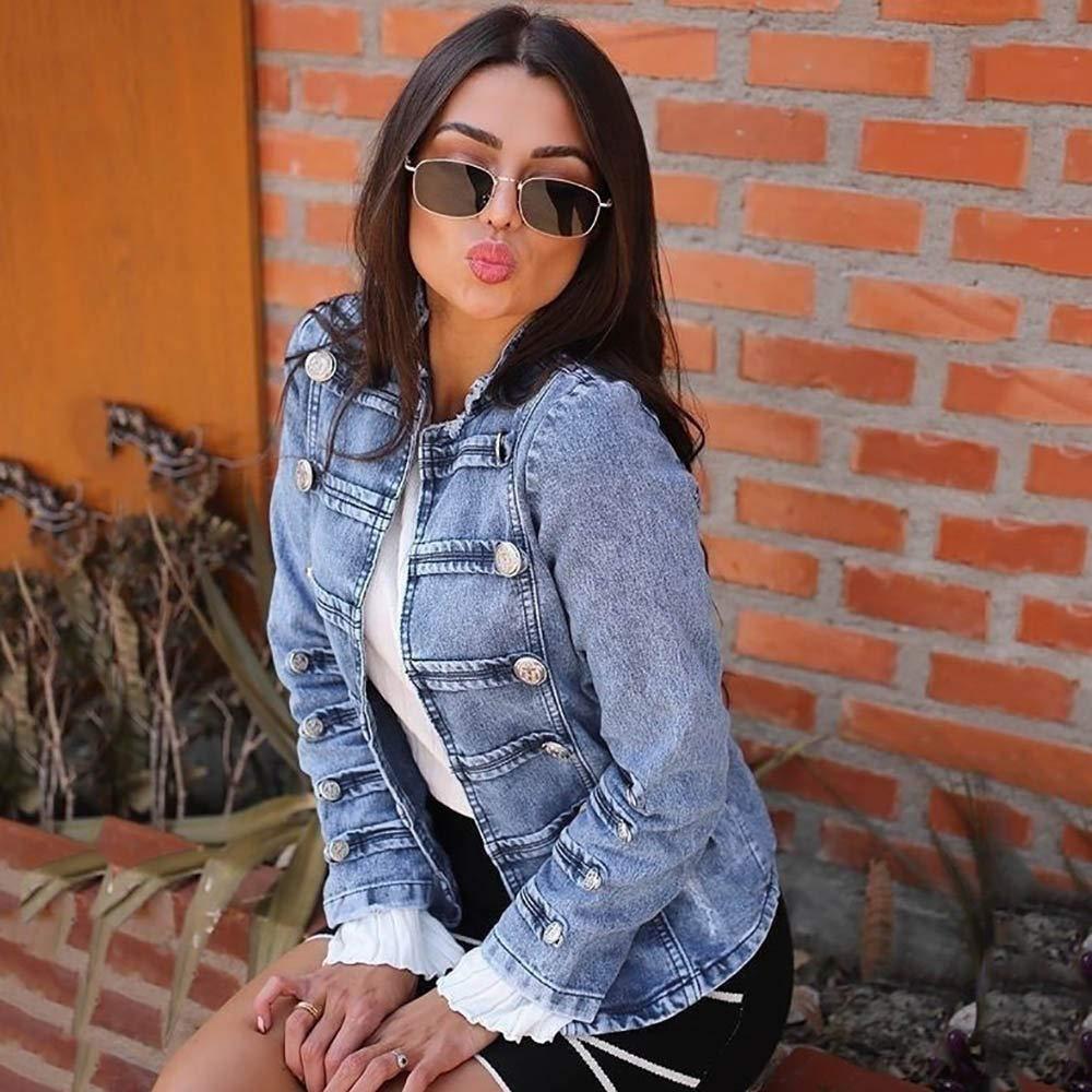 Cardigo Womens Cowboy Long Sleeve Double Row Button Denim Jacket Jean Outerwear Coat