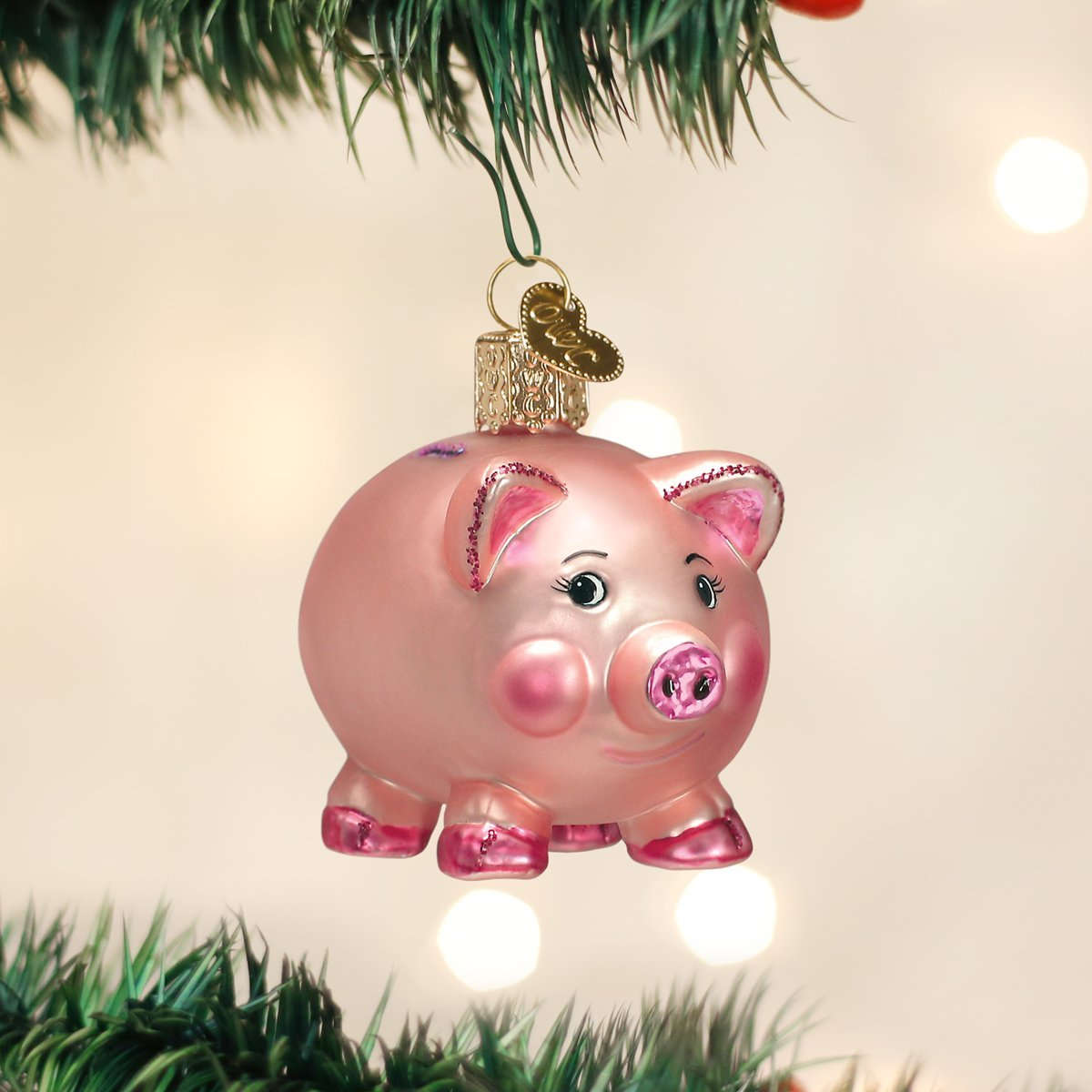 Pig christmas ornaments - Amazon Com Old World Christmas Piggy Bank Glass Blown Ornament Home Kitchen