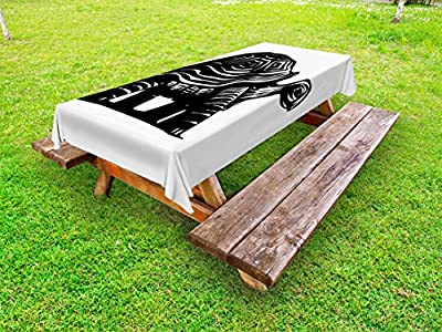 """Lunarable Turtle Outdoor Tablecloth, Woodcut Style Slow Animal Walking Around Sketch Style Jungle Fauna Illustration, Decorative Washable Picnic Table Cloth, 58"""" X 104"""", Black and White"""
