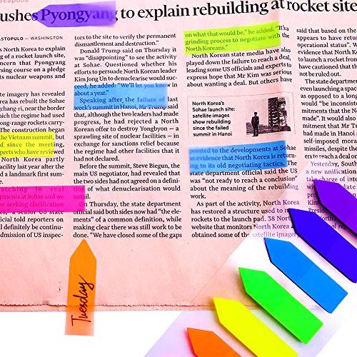 Koogel 2240 Stk. Haftmarker, 16 Sets Mini Haftstreifen Plastik Page Marker Index Flaggen Haftnotizzettel Einmerker 7 Farben Beschreibbare Etiketten