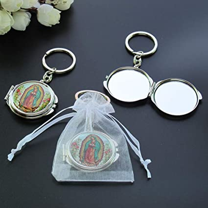 12X Our Lady of Guadalupe Baptism Compact Mirror Keychains First Communion Favor