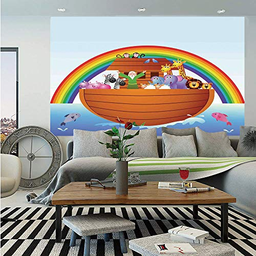 Noahs Ark Wall Mural,Noah Ark and Colorful Sky Every Kind of Creature Sailing Artful Design Print,Self-Adhesive Large Wallpaper for Home Decor 55x78 -