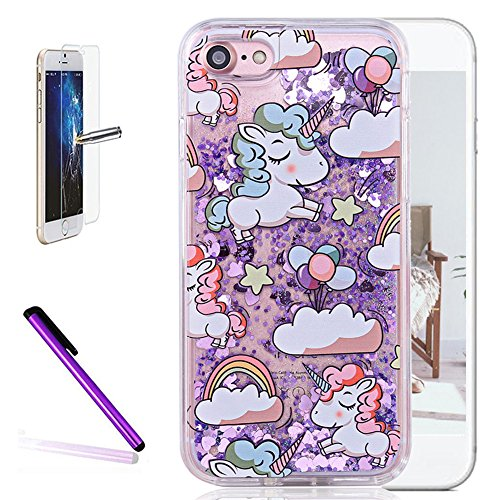 iPhone 5S Case,ISADENSER PC Horse Design 3D Glitter Flowing Liquid Floating Moving Hearts Hard Protective Case for iPhone 5 / 5S / SE + 1pcs Screen Protector Purple Hearts Unicorn