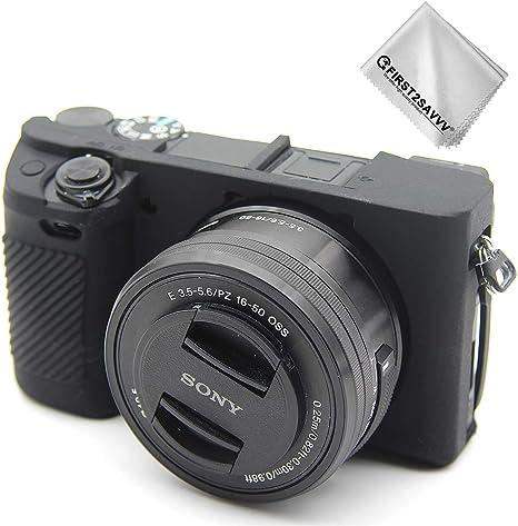 First2savvv Negro Cuerpo Completo Caucho de TPU Funda Estuche Silicona para cámara para Sony Alpha A6400 A6300 XJPJ-A6400-GJ-S01G11: Amazon.es: Electrónica
