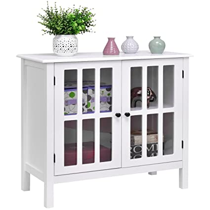 Custpromo Storage Buffet Cabinet Glass Door Sideboard Console Table Kitchen Dining Room Furniture White