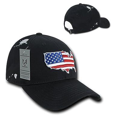 66c240e638e80 Low Profile 6 Panel American Flag Map Embroidered Baseball Cap - BLACK