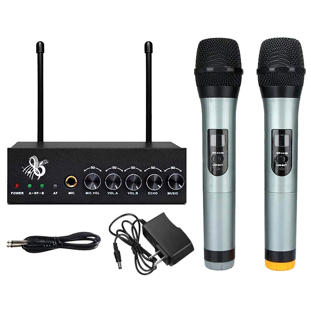 Microphone System VHF Wireless Bluetooth Wireless Microphone Singing Machine Dual Channel Handheld Independent Volume Controls for Smart Phone/iPad/PC/TV/Tablet (Black) by Shirylzee