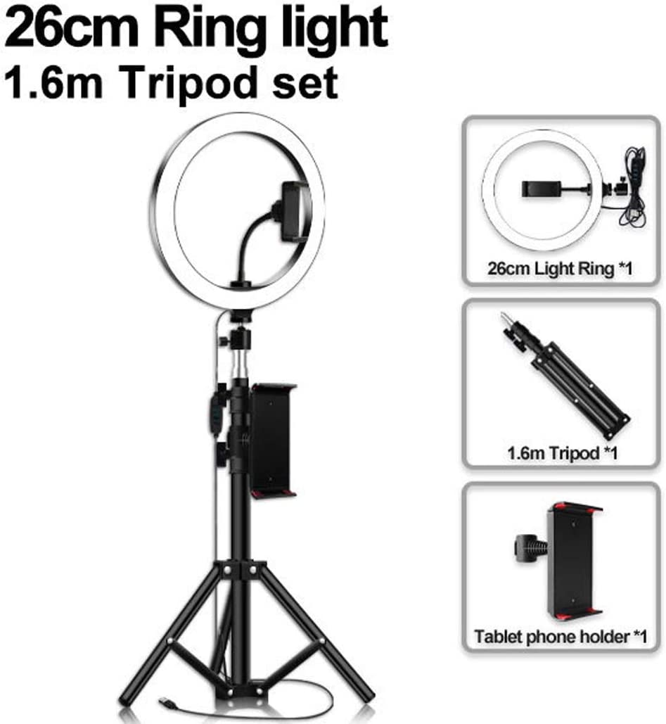MALPYQB Self-Timer LED Ring Light with Adjustable Tripod Stand and Mobile Phone Holder for Outdoor Bedroom Office Kitchen Bathroom,1.6x20cm