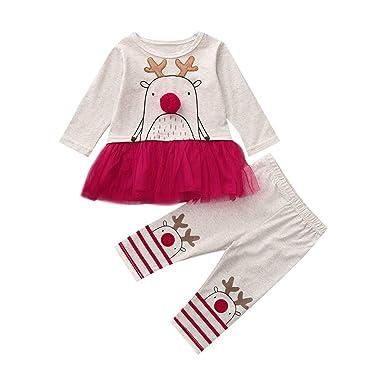 f25bf97f4b4 Oyedens Ensemble Bébé Fille Noël Wapiti Vêtements Bébé Fille Nouveau-Né T- Shirt À