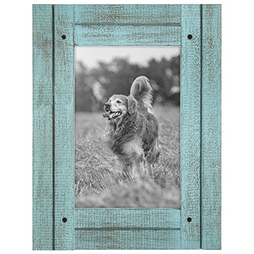 4x6 Turquoise Blue Distressed Wood Frame - Made to Display 4x6 Photos - Ready To Hang or Stand With Built in Easel