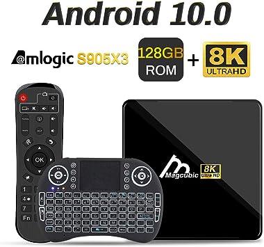 Android TV Box 10, 4GB 128GB Compatible con 8K 4K 3D, Amlogic s905x3 Dual-WiFi 2.4g / 5g Smart TV Box con Mini Teclado: Amazon.es: Electrónica