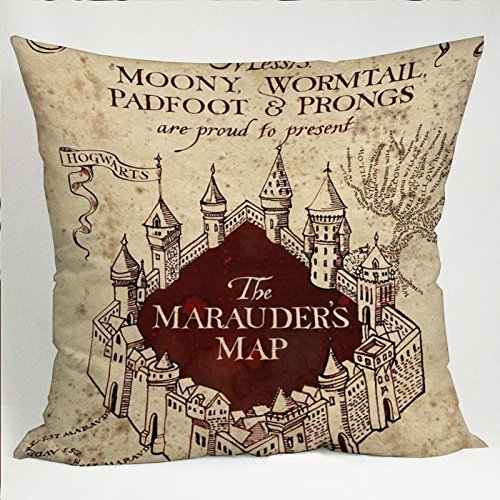 The Marauders Map Harry Potter Pillow Cases (16x16 two side) (Marauders Map Throw)