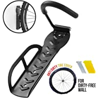 Hanging Bike Rack | Heavy Duty 1 Pc Steel Wall Mount Bicycle Hanger Bike Holder | Space Saving Storage for Home Garage Shed | Easy to Install Mounting | Tire Cover Included to Prevent Wall Stain