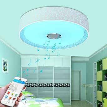 Runde RGB Deckenleuchten LED Bluetooth Musik Lautsprecher Deckenlampe Modern Bunte Smartphone APP Kontrolle Dimmen Integrierter Ambientebeleuchtung