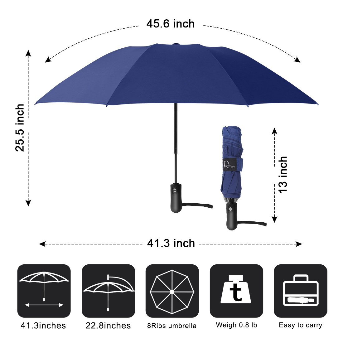 Nesus Umbrella Windproof Travel Umbrella 8 Ribs Auto Open Close with Waterproof Canopy Compact Folding Reverse Umbrella(Blue) by Nesus (Image #4)
