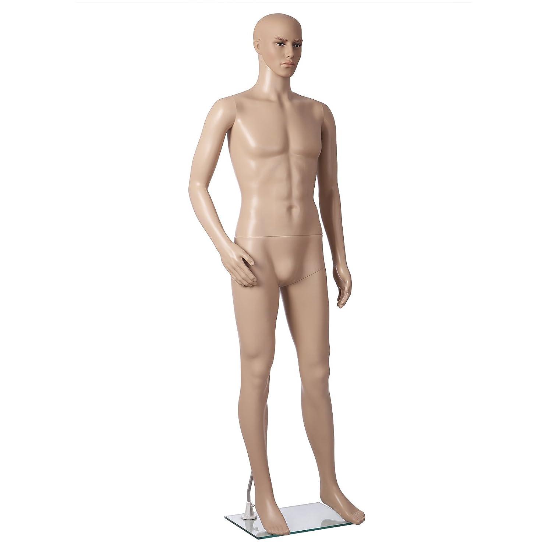SONGMICS m/ännliche Schaufensterpuppe m/ännlich Schaufensterfigur Mannequin aus PE-Plastik MPGM19