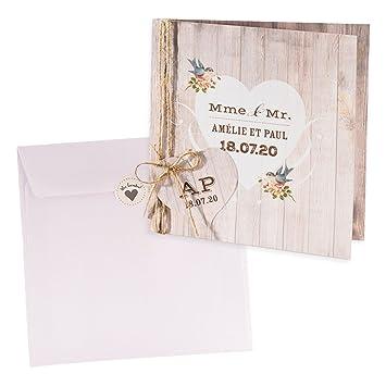 Holz Optik Einladungskarte Kerstin Zur Hochzeit, 3 Stück Blanko  Hochzeitseinladungen Mit Passendem Umschlag U