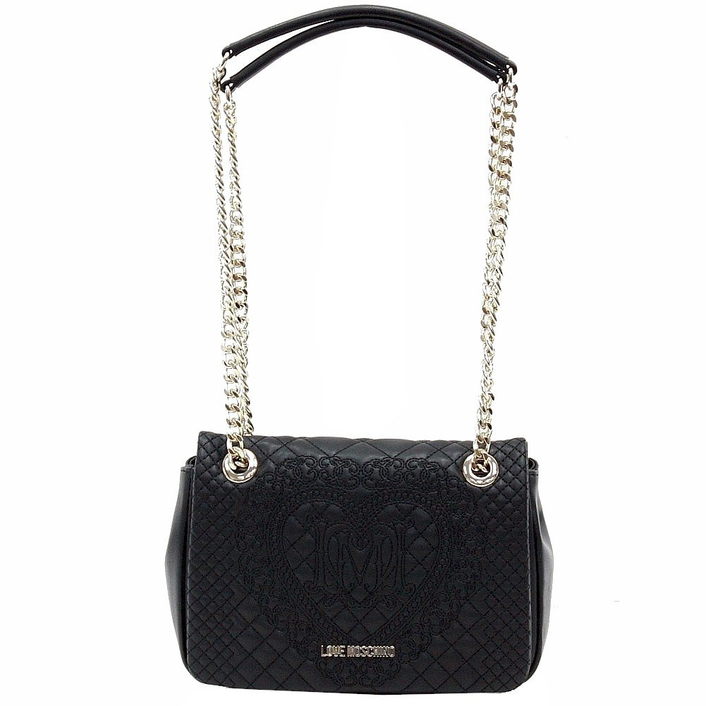 Love Moschino Women's Quilted & Embroidered Black Flap-Over Satchel Handbag