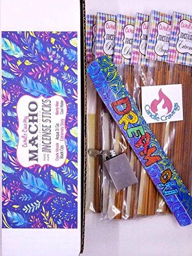 Scented Incense Sticks Variety Pack With Burner Holder, 6 Scents Macho Collection Gift Set For Men -