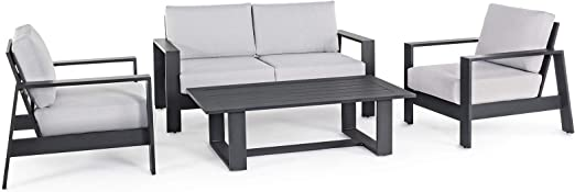 Bizzotto - Salón Atlantic de aluminio antracita para jardín, para exterior, salón o porche, 4 piezas, estructura moderna, láminas anchas: Amazon.es: Hogar